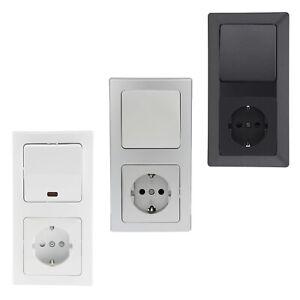 Lichtschalter mit Steckdose Schutzkontakt Unterputz Wechsel EIN / Aus-Schalter