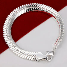 """Fashion Accessories 10MM 8"""" Snake Chain Strong Men's Bracelet FB92, 925 Silver"""