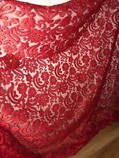 """10 M di colore rosso smerlato in pizzo da sposa Embroided Netto Tessuto Largo 52"""" Nuovo In Magazzino"""