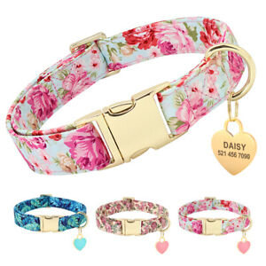 Floral Personalized Dog Collars Custom Pet Dog ID Name Tags Engraved Free S M L