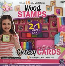 New Horizon 2-n-1 Stamps & Cards 8 Cutesy Cards + 15 Solid Wood Stamps #52114