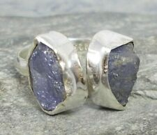 925 Silver Rough Raw TANZANITE Ring Sz L/M/N-6/6.5 R281~Silverwave*uk Jewellery