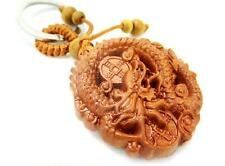 Dragon Coin Wood 3D Carved Chinese Fengshui Pendant Key Chain Keyring Craft