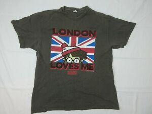 Vintage Where's Wally London Loves Me Mens T Shirt Size L Delta Tag 90s