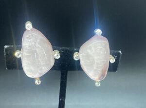 Designer Signed Cecile & Jeanne Paris Clip On Rhinestone Poured Resin Earrings