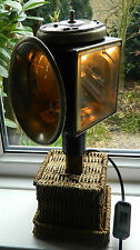 Industrial Vintage Carriage lamp:Wicker base:Repurposed:Upcycled:Steampunk:FOLK