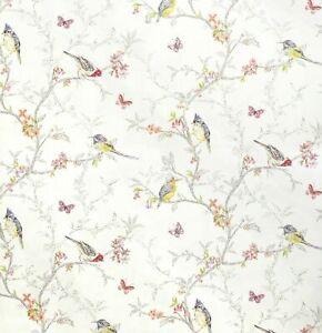 Multicoloured Birds, Butterflies & Flowers on a White Background Wallpaper