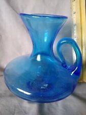 Blue Art Glass Hand Blown Decorative Pitcher