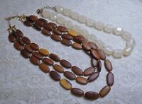 VINTAGE MULTI STRAND BROWN WOOD & CREAM COLOR LUCITE BEADED NECKLACE LOT