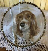 SPANIEL DOG PORTRAIT PAINTED ON CLEAR GLASS WITH GOLD CHAIN FRAME EXQUISITE
