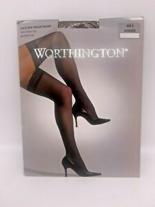 1 pr Worthington Sheer Lace Top Thigh Highs - Size 2 - Almond