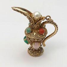 14K Gold 3D  Etruscan Style Gemstone Urn Pitcher Vase Charm Pendant 21.2 gr