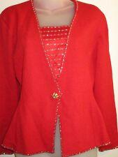 Vintage Marie Gray 6 Best International Sweater Top True Red Rhinestone Crystal