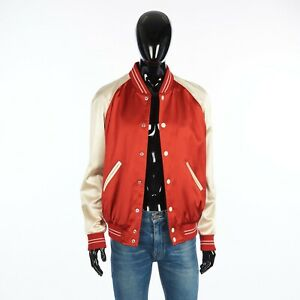 "CELINE 2450$ ""Perhaps"" Teddy Jacket In Red & Off White Satin"