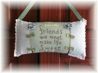 Hanging Pillow FRIENDS WE MEET MAKE LIFE SWEET Green Blue Bows Pearls New Tag