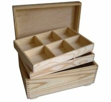 Pine wood jewellery storage box DD119 with 2 removable compartment trays