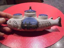 Ancien Poivre et sel + Moutardier au Poisson Faïence Souvenir de Nancy