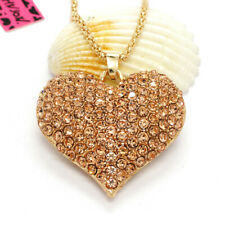 Hot Rhinestone Cute Shiny Heart Crystal Pendant Betsey Johnson Chain Necklace
