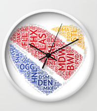 Southwest Airlines Airport Codes Heart - Wall Clock