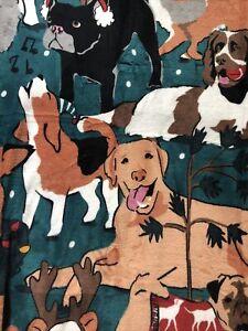 🐕🦺🦮🐩Vera Bradley Holiday Dogs Green 80x50 throw NWT