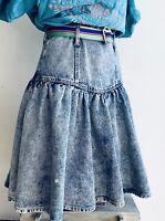 80s Vtg High Waist Acid Wash pleated Denim Jean Mini Skirt boho western sz 7 EUC