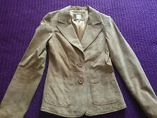 Quality New Look smart brown suede leather jacket VGC size 8 Retro Style