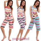 Pyjama femme ensemble débardeur intimo corsaire à rayures ours neuf 9443