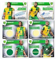 Topps Premier Club 2016 Norwich Set 4 shirt 2 Signature Bassong Jerome Autograph