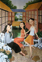 Enchanting Oil painting Chinese female portrait young girls together in views