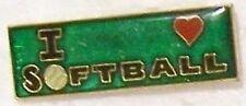 Hat Lapel Pin sports I Love Softball NEW