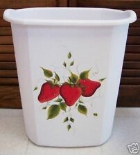 HAND PAINTED STRAWBERRY WASTE PAPER BASKET/NEW