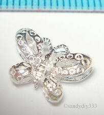 2x BRIGHT STERLING SILVER BUTTERFLY CROSS SPACER BEAD 12.2mm #1589