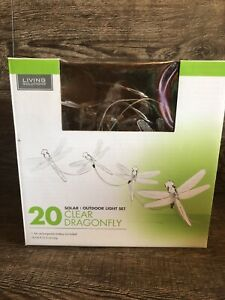 SOLAR LED Dragonfly string Light set 20 CLEAR  outdoor 18ft Camping Lites