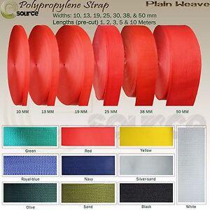 POLYPROPYLENE PLAIN WEAVE WEBBING STRAP PRE CUT WIDTHS 10 13 19 25 30 38 50 MM