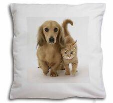 Dachshund Dog and Kitten Soft Velvet Feel Cushion Cover With Inner P, AD-DU1-CPW