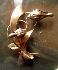 On Silver Bow Flower Brooch 1950's Carl Art Modernist Era Gold Fill