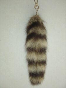 2pcs Real Large American Raccoon Tail Fur Keychain Tassel Bag Tag Charm
