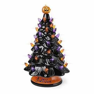 Black Halloween Ceramic Tree with Orange and Purple Lights,Prelit Tabletop Decor