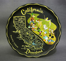 Mid 20th C Disneyland Metal Tray, California Map, Disney Charachters, 11""
