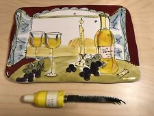 Certified International Ceramic Cheese Cutting Board + Cheese/Fruit Knife