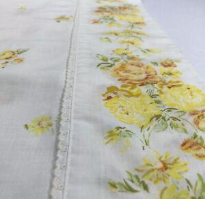 Vtg Pillowcases Yellow Orange Floral Flowers Crochet Trim 29x20 Pair Set Of 2