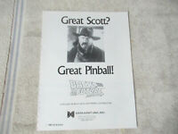 odd size 11- 8.5'' back to the furture data east  pinball  ARCADE GAME FLYER