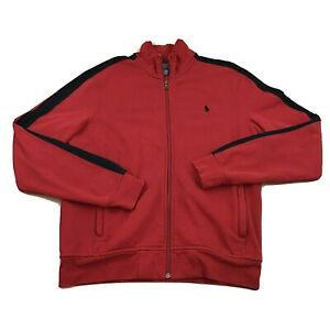 Polo Ralph Lauren Men's Medium Red Black Full Zip Track Jacket