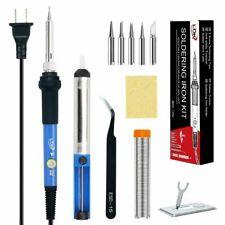 SOLDERING IRON KIT Electronics Desoldering Pump Welding Power Tweezer Tool Case