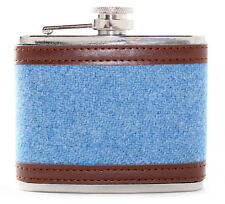 4oz Bright Blue Harris Tweed Stainless Steel Boxed Hip Flask Wedding Gift