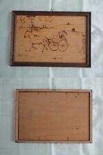 """Quadro miniatura """"carrozza con cavalli"""" stile '800  pirografato su legno"""