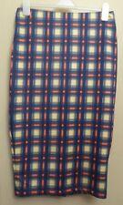 Marks & Spencer Limited Edition UK12 EU40 US8 blue/cream/red check stretch skirt