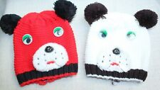 RETRO LOT OF 2 CHILDREN'S KNIT HATS, DOGS WITH EYES, EARS & FACES, SMALL