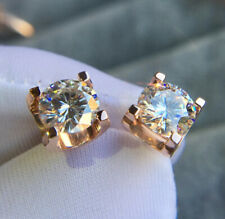 2ct Round Moissanite Crystal Solitaire Stud Earrings 14k Rose Gold Finish