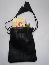 Soft Leather Drawstring Pouch for Cigarette Packet or Change,Phone,Camera Black